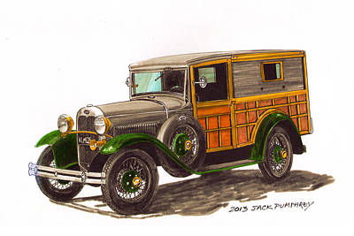 Painting - 1930 Ford Model A Woody by Jack Pumphrey