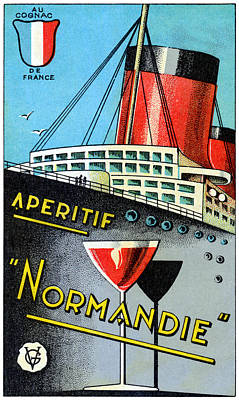 Ocean Liner Painting - 1930 French Apertif Normandie   by Historic Image