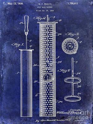 1930 Golf Ball Washer Patent Drawing Blue Art Print