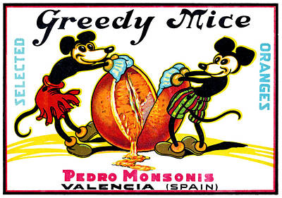 Painting - 1930 Greedy Mice Crate Label by Historic Image