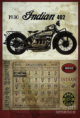 Cycle Digital Art - 1930 Indian 402 by Cinema Photography