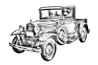 1930 Model A Ford Pickup Truck IIlustration Art Print by Keith Webber Jr