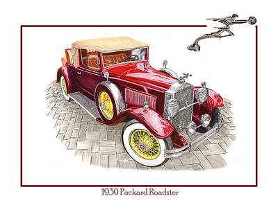 Classic Car Art Drawing - 1930 Packard 733 Convertible Roadster by Jack Pumphrey