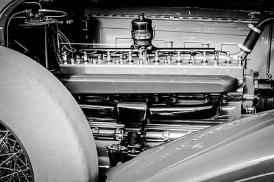 1930 Packard Speedster Runabout Engine -0539bw Print by Jill Reger