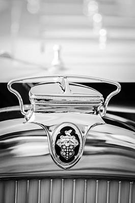 Photograph - 1930 Packard Speedster Runabout Hood Emblem -2520bw by Jill Reger