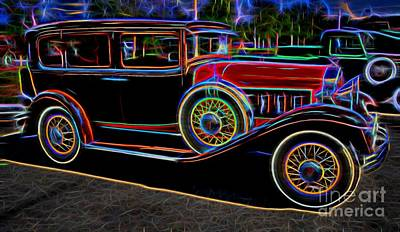 1930 Willys-knight 66 B Sedan - Neon Art Print by Gary Whitton