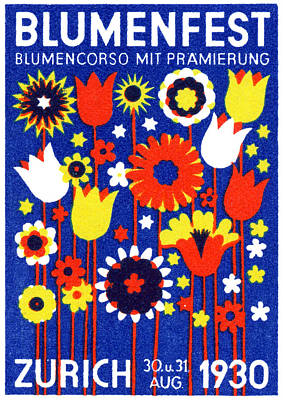 Switzerland Painting - 1930 Zurich Flower Show by Historic Image