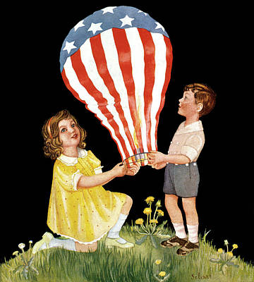 4th Of July Painting - 1930s 1940s Boy Girl Holding Small Hot by Vintage Images