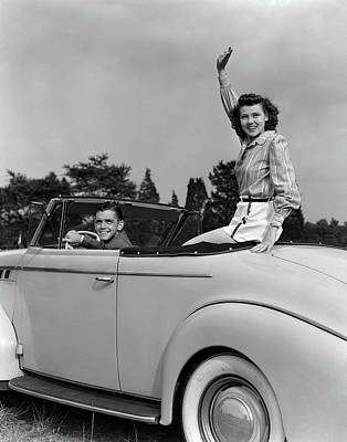 1930s 1940s Couple In Convertible Car Art Print