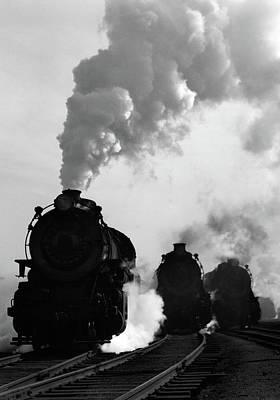 1930s 1940s Head-on View Of Three Steam Art Print