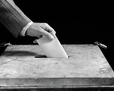 Ballot Wall Art - Photograph - 1930s 1940s Male Hand Dropping Paper by Vintage Images