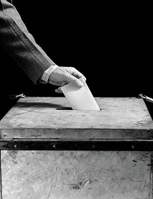Ballot Wall Art - Photograph - 1930s 1940s Mans Hand Putting Ballot by Vintage Images