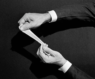 Self Shot Photograph - 1930s 1940s Mans Hands Symbolic Money by Vintage Images