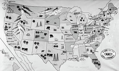Business To Business Painting - 1930s 1940s Map Of United States by Vintage Images
