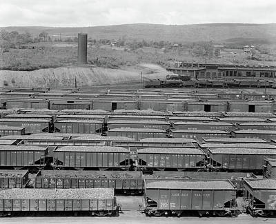Boxcar Photograph - 1930s 1940s Railroad Yard With Engine by Vintage Images