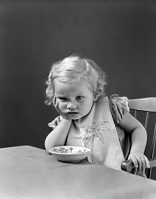 1930s 1940s Sad Baby Girl At Table Art Print