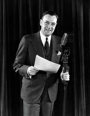 1930s 1940s Smiling Man Announcer Emcee Art Print