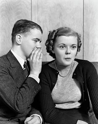 1930s 1940s Young Teenage Couple Boy Art Print