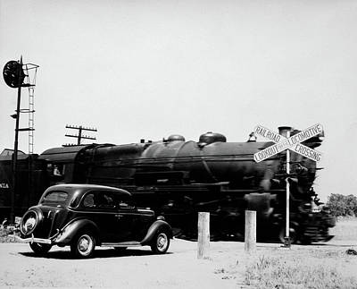 Freight Train Photograph - 1930s Automobile Stopped At Railroad by Vintage Images