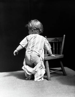Black And White Studio Nude Photograph - 1930s Baby Wearing Drop Seat Pajamas by Vintage Images
