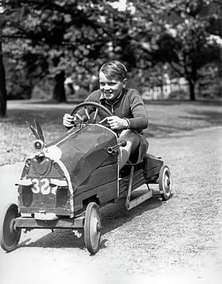 1930s Boy Driving Home Built Race Car Art Print
