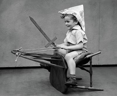 1930s Boy Playing Wooden Sword Paper Art Print