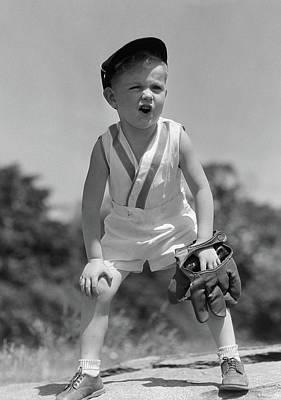 1930s Boy Wearing Baseball Hat & Glove Art Print