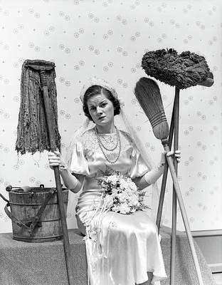 Wedding Gown Photograph - 1930s Bride Seated Next To Bucket by Vintage Images