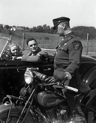 Patrol Cars Photograph - 1930s Couple In Convertible Coupe by Vintage Images
