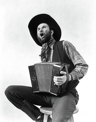 Accordion Photograph - 1930s Cowboy Playing Accordion & Singing by Vintage Images