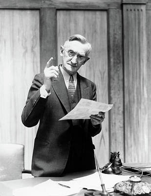 Dictate Photograph - 1930s Elderly Man In Office Standing by Vintage Images