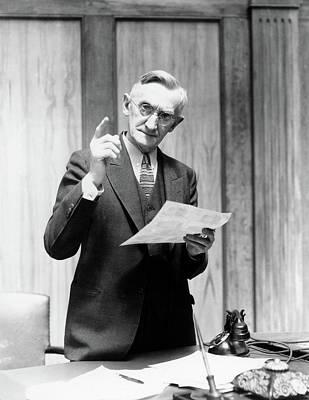 1930s Elderly Man In Office Standing Art Print