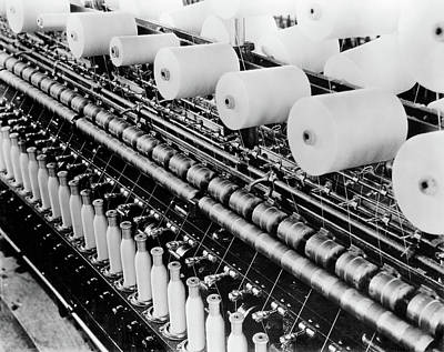 Old Time Spool Photograph - 1930s Factory Textile Close-up by Vintage Images