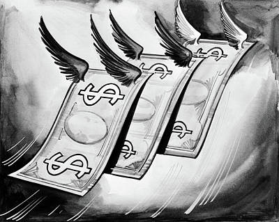Sadness Painting - 1930s Fake Money With Wings Flying Away by Vintage Images