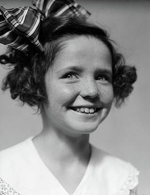 Freckles Photograph - 1930s Freckle Faced Smiling Girl by Vintage Images