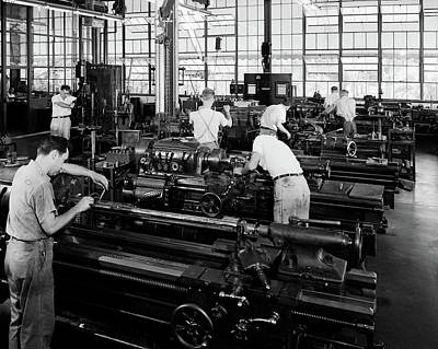 Machinists Photograph - 1930s Group Of Men Operating Lathes by Vintage Images