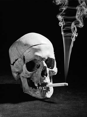 1930s Human Skull Smoking A Cigarette Art Print