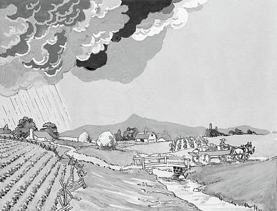 Alien Painting - 1930s Illustration Of Rural Farm Land by Vintage Images