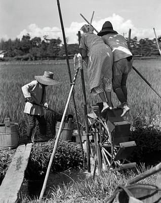Osaka Photograph - 1930s Irrigating Rice Field Near Osaka by Vintage Images