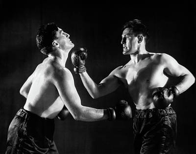 Self Shot Photograph - 1930s Man In Boxing Match With Himself by Vintage Images