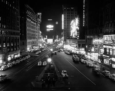 1930s Overhead Of Times Square Lit Art Print