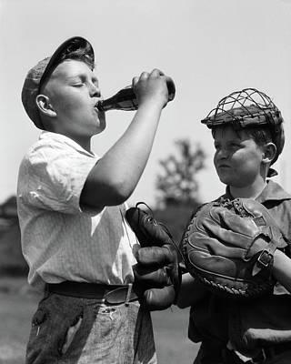 1930s Pair Of Boys Wearing Baseball Art Print