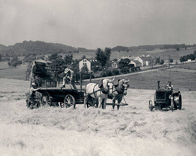 Mower Photograph - 1930s Pair Of Men Dumping Hay by Vintage Images