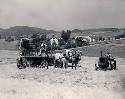 1930s Pair Of Men Dumping Hay Art Print