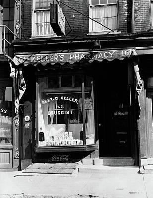 Storefront Photograph - 1930s Pharmacy Storefront by Vintage Images