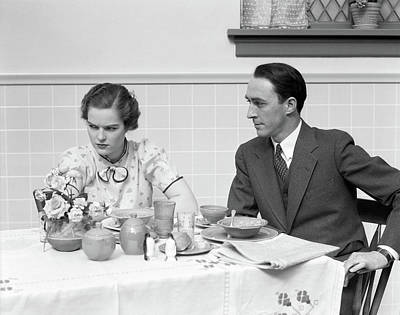 1930s Quarreling Couple At A Table Set Art Print