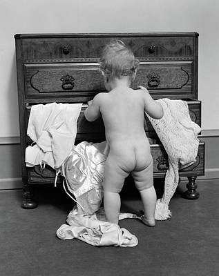 Black And White Studio Nude Photograph - 1930s Rear End View Of Naked Baby by Vintage Images