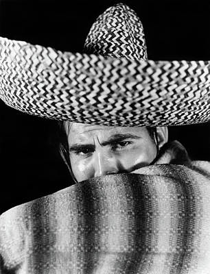 Poncho Photograph - 1930s Stereotype Portrait Mexican Man by Vintage Images
