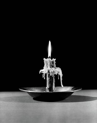 Candle Stand Photograph - 1930s Still Life Of Lit Candle Burned by Vintage Images