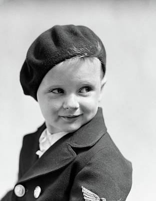 Self-confidence Wall Art - Photograph - 1930s Studio Portrait Of Young Boy Look by Vintage Images